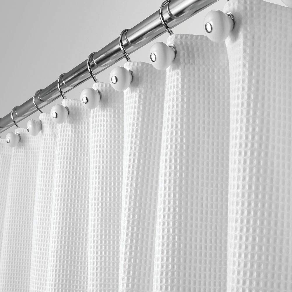 mDesign Long, Polyester/Cotton Blend Fabric Shower Curtain with Waffle Weave and…