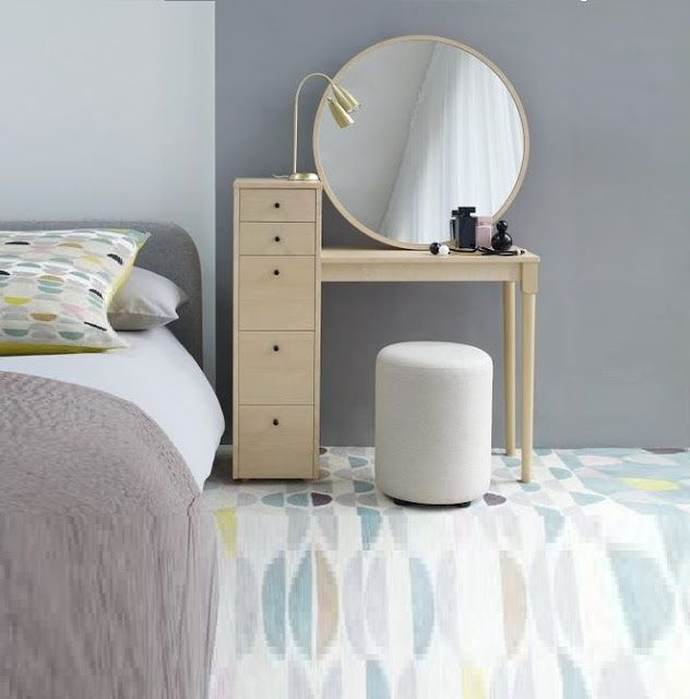 modern white small dressing table designs with round mirror