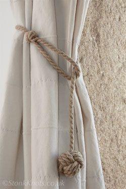 monkey fist curtain tie-backs in hemp rope long drop