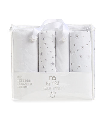 mothercare travel cot starter set – white and grey