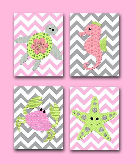 poster print Sea Crab Turtle Baby Girl Nursery Decor Children Art Print Baby Nursery Print set of 4 Starfish Seahorse Rose Green Gray