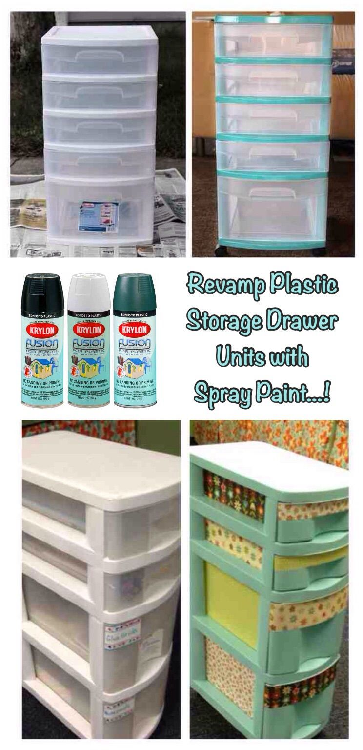 ('revamp plastic storage drawer units with spray paint…!')