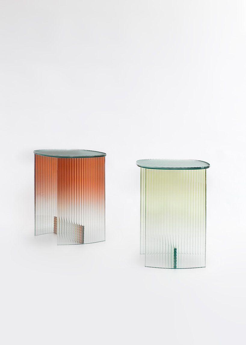 thinkk studio designs a gradient table made of auto glass