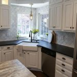 white modern farmhouse kitchen with corner apron sink | suburban bitches #kitche...