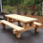 woodworking - Cool picnic table made with posts  Modern