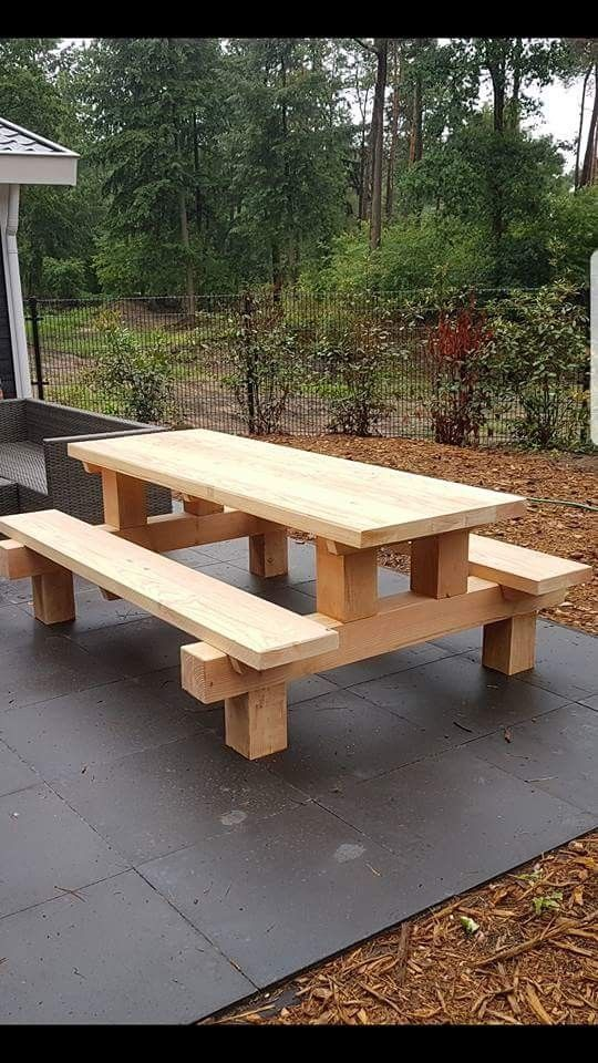 woodworking – Cool picnic table made with posts  Modern