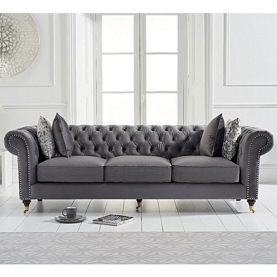 Holbrook Chesterfield 3 Seater Sofa In Grey Velvet | Three seater .