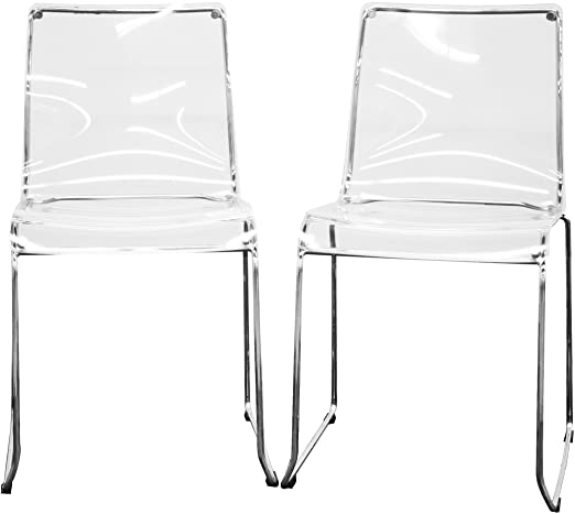 Amazon.com: Baxton Studio Lino Transparent Clear Acrylic Dining .