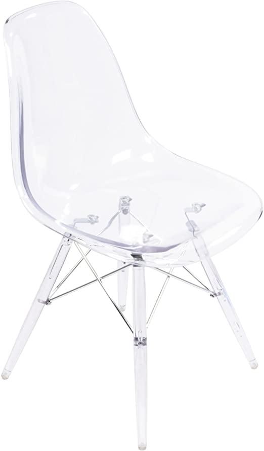 Amazon.com - Clear Acrylic Eames-Style Side Chair, Clear Legs - Chai
