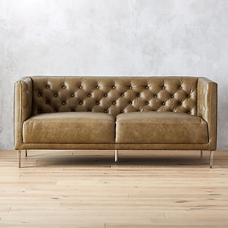 Savile Saddle Leather Tufted Apartment Sofa + Reviews | C