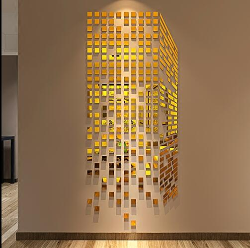 Acrylic Cube 3D Stereoscopic Mosaic Mirror Wall Stickers DIY Art .