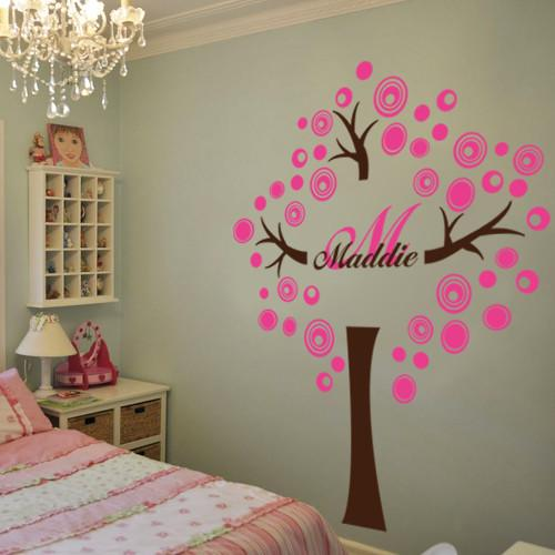 PERSONALIZED CIRCLE TREE WITH NAME AND INITIAL Vinyl Decal Wall .