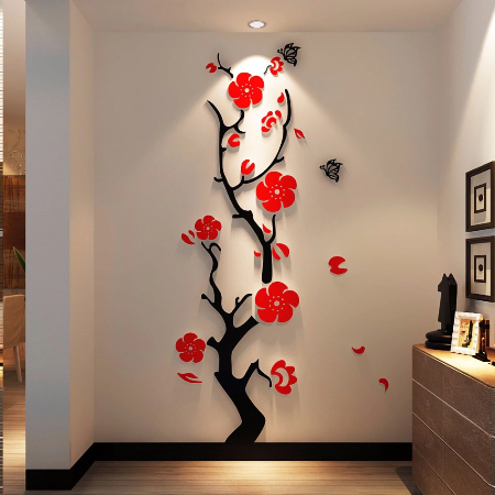 Plum flower 3d Acrylic mirror wall stickers Room bedroom DIY Art .