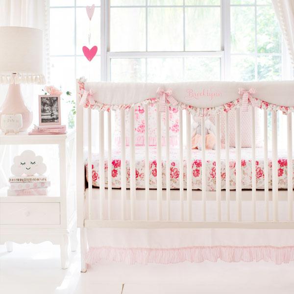 Vintage Rose Crib Bedding | Pink Floral Baby Beddi