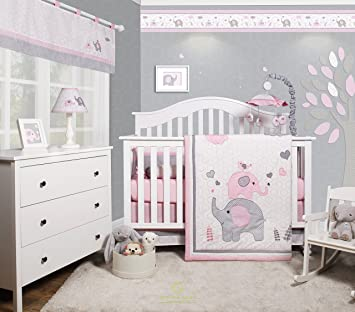 Amazon.com : GEENNY OptimaBaby Pink Grey Elephant 6 Piece Baby .