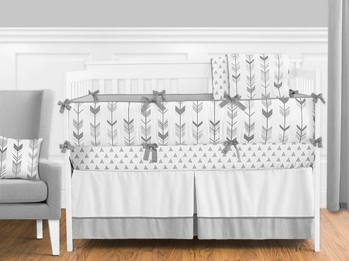 Grey and White Woodland Arrow Boy, Girl, Unisex Baby Crib Bedding .