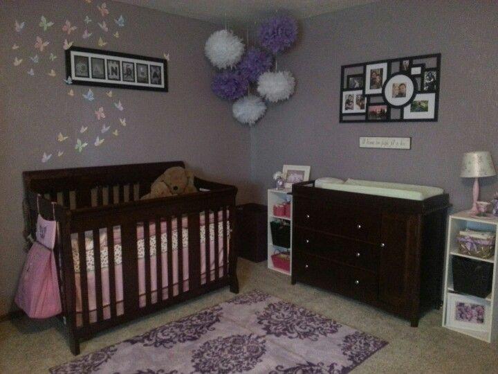 Baby girl nursery #purple nursery My sister is amazing!! Nice work .
