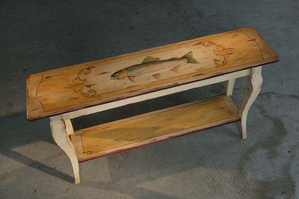 Barnwood Furniture: 5' Sofa Table With Hand Painted Rainbow Trout .