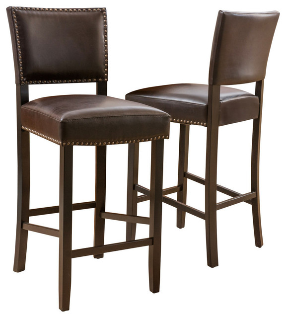 William Contemporary Bonded Leather Barstools, Set of 2 .