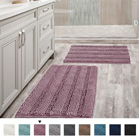 Amazon.com: Mauve Bathroom Rugs Ultra Thick and Soft Texture .