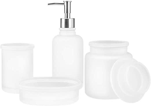 Amazon.com: 4-Piece Glass Bathroom Accessories Set, Complete Bath .
