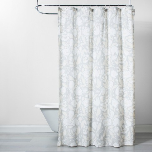 Floral Opaque Shower Curtain Gray/White - Opalhouse™ : Targ