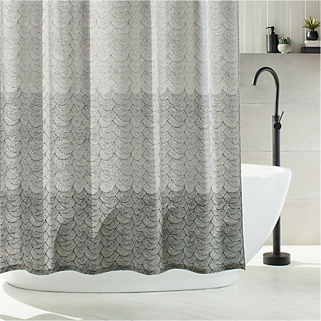 Scallop Blockprint Shower Curtain | C