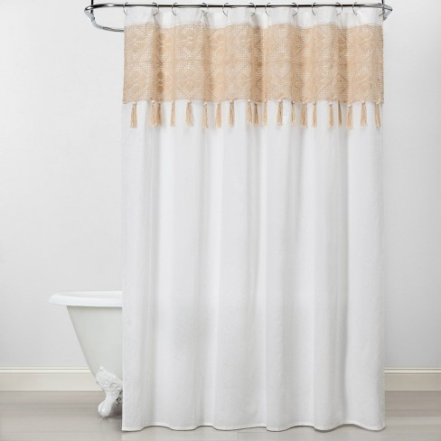 Macrame Inset With Wood Bead Tassels Shower Curtain White/Beige .