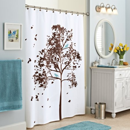 Better Homes & Gardens Farley Tree Fabric Shower Curtain, Brown .