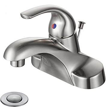 WOWOW Bathroom Faucet 1 Handle Low Arc Single Handle 4 inch .