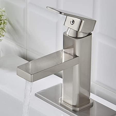 VOTON Brushed Nickel Bathroom Faucet Single Hole, Modern Square .