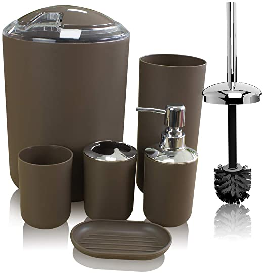 Amazon.com: Soeland Brown Bathroom Accessories Set Complete, 6 .