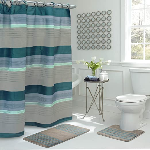 Amazon.com: Bath Fusion Regent Stripe 15-Piece Bathroom Shower Set .