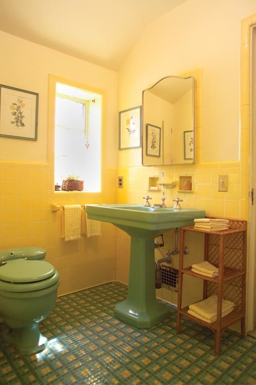 1930s inspired coloured bathroom suite design in green | Yellow .