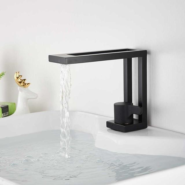 Modern Basin Faucets Black Sink Mixer Taps Brass Bathroom Taps .