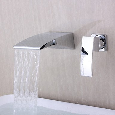 MIAO Contemporary Wall mounted Waterfall Chrome Finish Curve Spout .