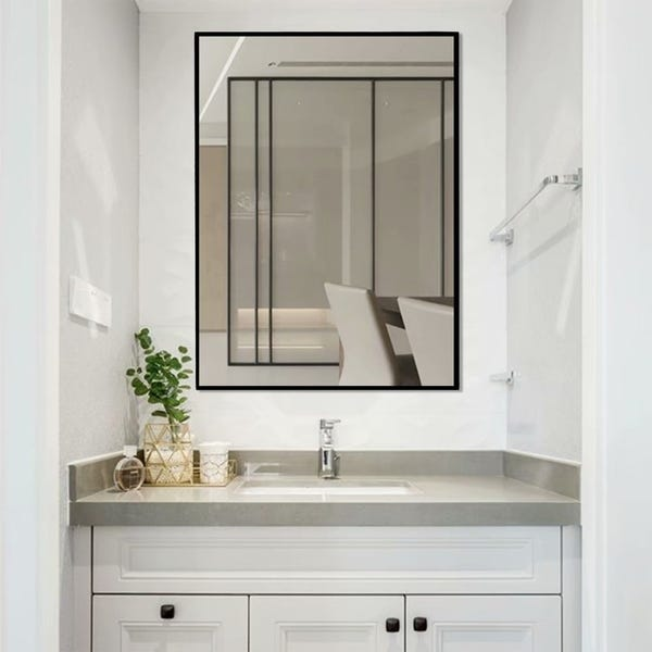 Shop Modern Large Black Rectangle Wall Mirrors for Bathroom Vanity .