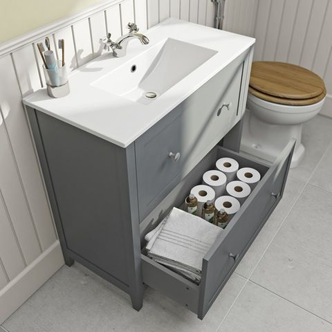 The Bath Co. Camberley satin grey floorstanding vanity unit and .