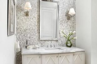 Gray Mosaic Tiled Bathroom Accent Wall, Contemporary, Bathroom .