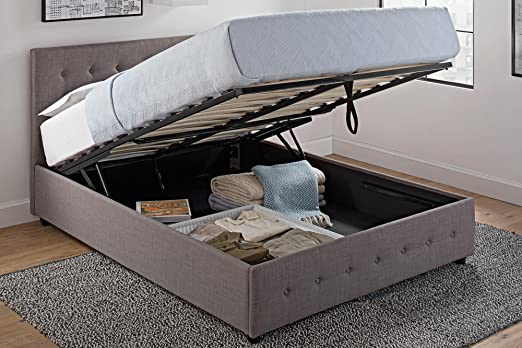 Amazon.com: DHP Cambridge Upholstered Linen Platform Bed with .