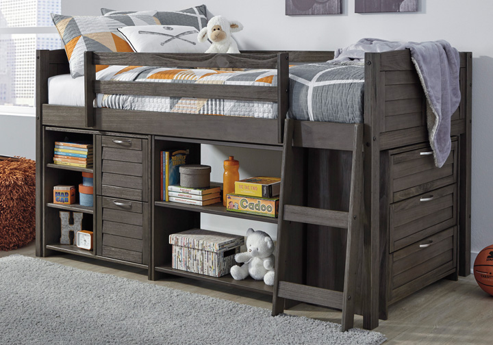 Caitbrook Gray Twin Loft Bed w/ Storage Chest and Shelves .