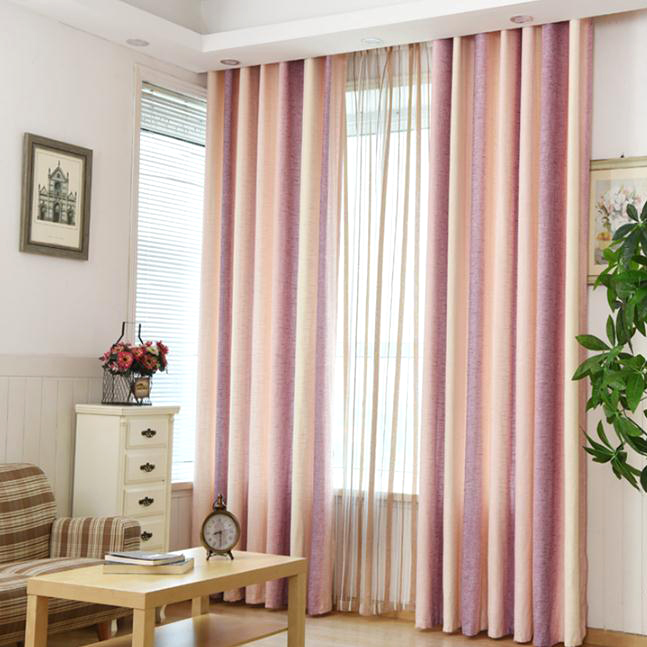 Pink Striped Jacquard Linen/Cotton Blend Modern Curtains for .