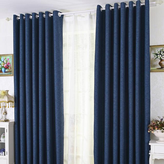 Modern Linen/Cotton Blue Blackout Bedroom Curtai