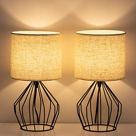 HAITRAL Bedside Table Lamp Set of 2- Small Nightstand Lamp, Modern .
