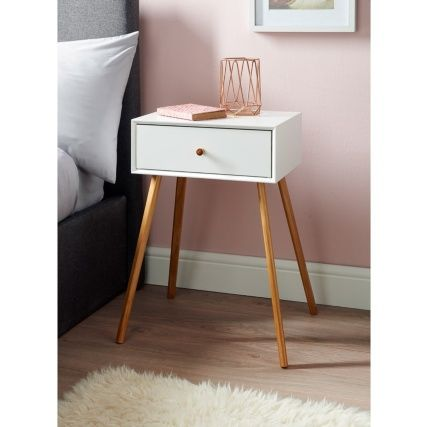 Bjorn Bedside Table - White | Bedside table design, Bedside table .