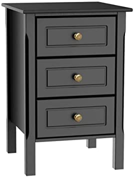 Amazon.com: Yaheetech Black Gloss 3 Drawers Bedside Table Cabinet .