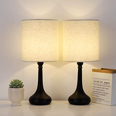 Bedside Table Lamps Set of 2, Desk Modern Nightstand Lamps with .