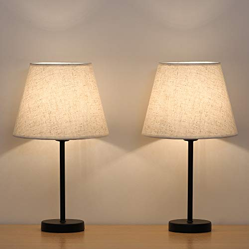 Amazon.com: HAITRAL Bedside Table Lamps - Small Nightstand Lamps .