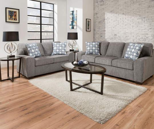Redding Gray Chenille Sofa With Pillows | Big Lo