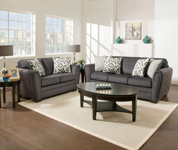 I found a Simmons Flannel Charcoal Living Room Furniture .